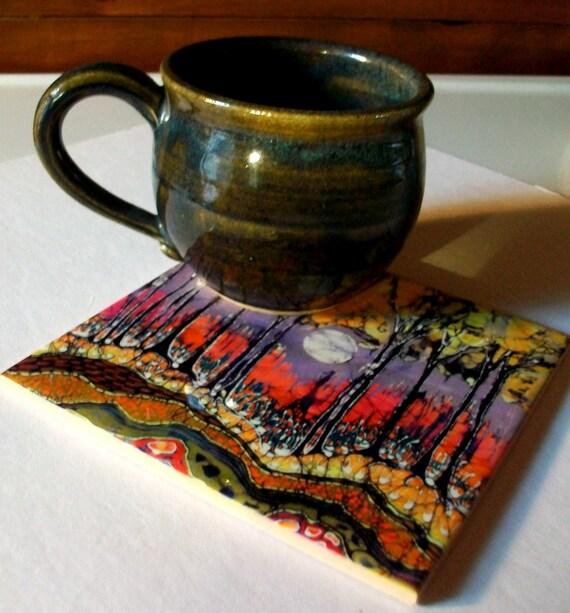 Trivet  8  -  Moon Over Spring  -  Ceramic tile