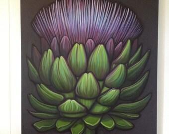 Artichoke Bloom original oil by Carin Vaughn