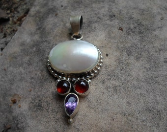 Sterling Navajo Artist Pendant with Gemstones