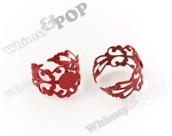 10 - Red Filigree Ring Blanks, Rainbow Ring Blanks, Colorful Rings, 8mm Glue Pad (R6-057)