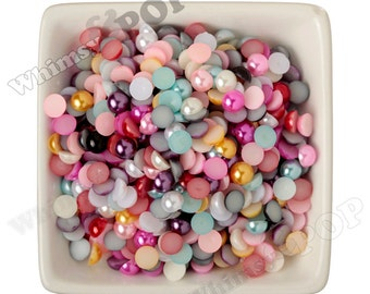 8MM - Mixed Color Pearl Flatback Resin Decoden Cabochons,  Half Pearl Cabochons, 8mm Flat Pearls, Flat Back Pearls, Embellishment (R3-151)