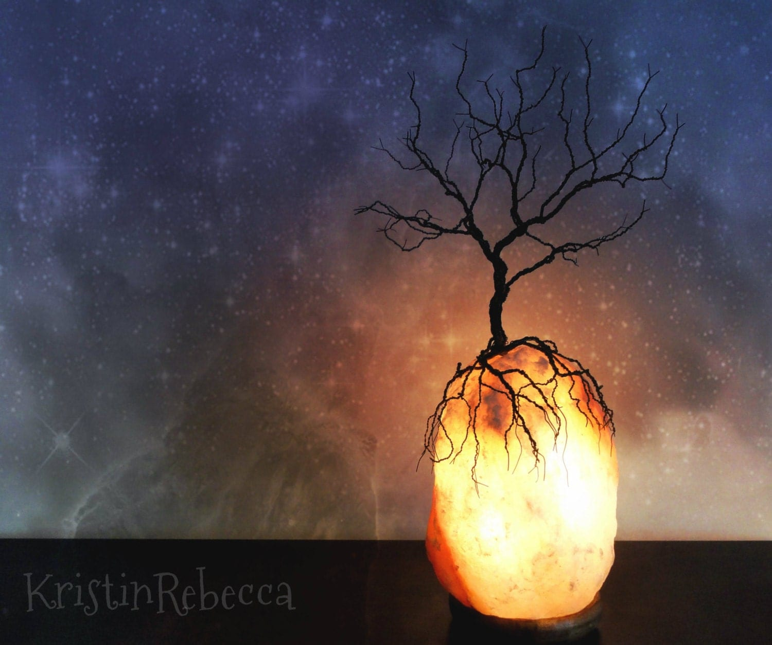 Wire Tree Sculpture And Himalayan Salt Lamp Tree By
