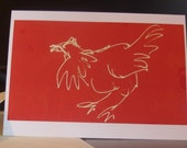 "Scratching Chicken"", Handmade Greetings Cards x 5, A6"