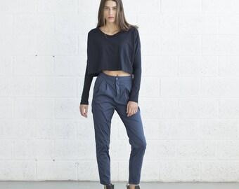 Pleated Pants - Blue.