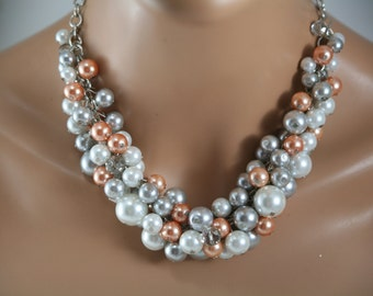 Chunky pearl necklace in silver orange and white-bridesmaid jewelry, chunky pearl statement necklace. bridesmaid necklace