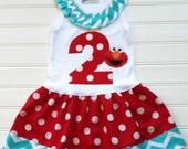 Girls Custom Dress Girls Dress Birthday Dress Number Dress Red Aqua Dress Baby Dresses  Kids Girls Available in 0-3 months through Size 6/8