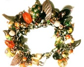 Chunky Bead Charm Bracelet in a Variety of Fall colors with Mixed Metal Leaf Charms