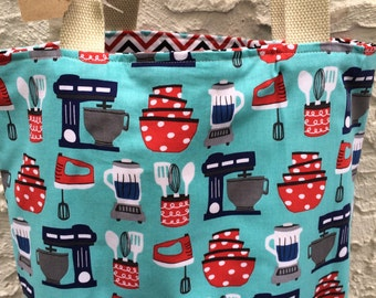 For The Baker Tote Bag - Canvas Tote Bag - Reversible Washable Tote Bag - Designer Fabrics