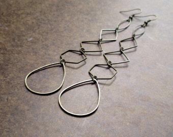 Long geometric earrings, modern statement geo earrings in antique brass tone, geometric lightweight shoulder dusters