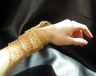 Wire crochet bracelet, gold tone, statement wrap cuff, modern asymmetric cuff, wire mesh bracelet, bridal