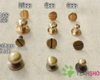 6mm / 8mm / 10mm Light Gold or Antique Brass Screw Studs - 10 Sets