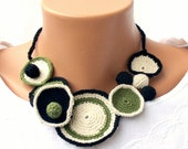 Olive green crochet necklace and bracelet , circles crochet textile jewelry set