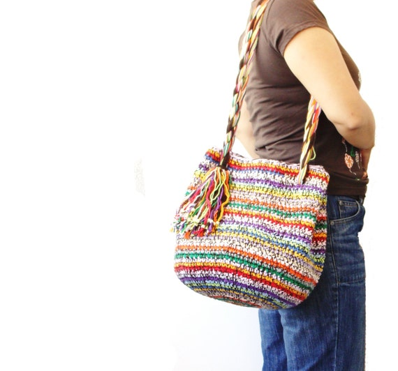 Crochet Hobo Bag : crochet hobo bag, multicolor beach bag, crochet bag, cotton chunky bag ...