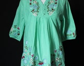 Women Shirt Blouse Top T-shirt Tunic Cotton Embroidered Mexican Style Tunic Ladies Summer Wear