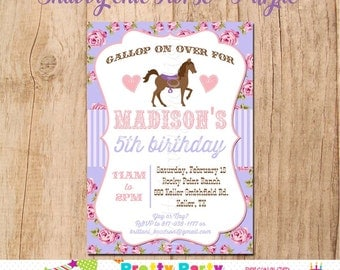 SHABBY CHIC HORSE invitation - You Print - Original in Pink and Purple