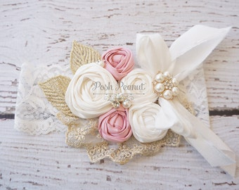 girls gold and pink headband- couture headband- gold headband- rosette headband- fancy girls headband- lace girls headband- toddler headband