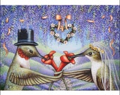 hummingbird bride and groom aceo art print limited edition flowers birds landscape veil top hat signed free ship miniature Karen Romine KR