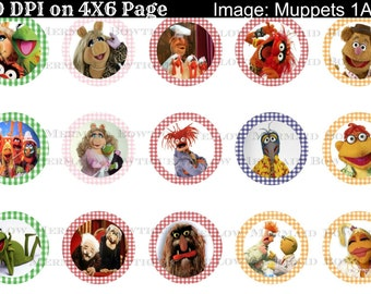 Buy ONE get FOUR FREE Muppets 1 Inch Bottlecap Image 4x6 Sheet