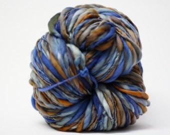 Handspun Wool Yarn Super Bulky Thick and Thin Slub  tts(tm) Merino Hand dyed Self-Striping LR 17a  Half-Pounder