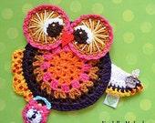 Crochet owl coaster pattern - DIY