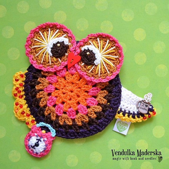 Crochet owl coaster pattern