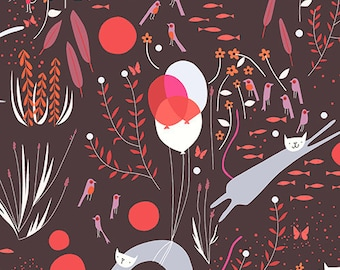 Half Yard Catnap Cat Dream in Raisin, Lizzy House for Andover Fabrics, 100% Cotton Fabric, A 7340 N