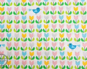 Half Yard Picture Pie Tulips, Ed Emberley, 100% GOTS-Certified Organic Cotton, Cloud9 Fabrics