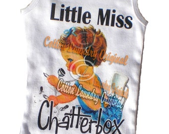 tank tee shirt one piece body suit tshirt Vintage inspired childrens tshirt Vintage inspired Childrens tshirt Little Miss Chatterbox