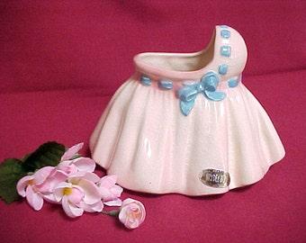 Brad Keeler Pryde & Joy Line, California Pottery Pink Baby Bassinet Planter Vase, Vintage Ceramic Nursery Decor, Mid Century Collectible