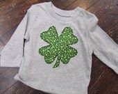St. Patrick's Day boy shirt, st pats day onsie, hand appliqued shamrock bodysuit, boy St Patricks Day shirt, initial custom personalized