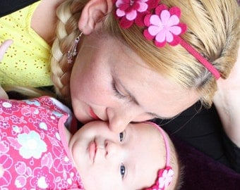 Mommy and me matching flower  headband   - Baby Headband - Headband for Babies / Toddlers - Pink Felt Flower - Baby Hairband