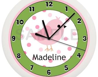 Personalized Pink Bird Green Nursery Wall Clock Children's Sweet Dreams