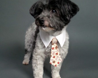 Dog Tie and Shirt Collar with Dog Bones and Hearts Design - Your Choice of Dog Neck Tie or Dog Bow Tie