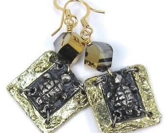 Gold Crystal Turtle Art Metal Earrings