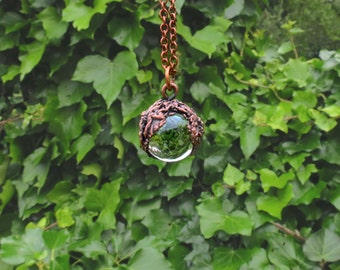 Glass Ball Necklace - Glass Ball Pendant - Rustic Copper Necklace - Magic Ball