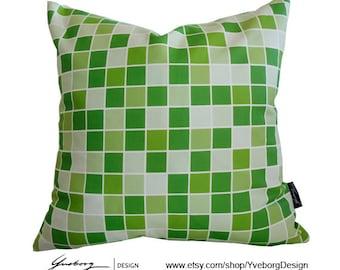 Green Square - Green Checker Pillow Case - Green color blox Decorative Pillow Case