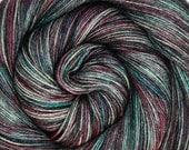 55/45 sw bfl silk yarn HADES hand dyed fingering weight 3.5oz 435 yards