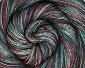 sw merino bfl silk yarn HADES hand dyed fingering weight 3.5oz 435 yards