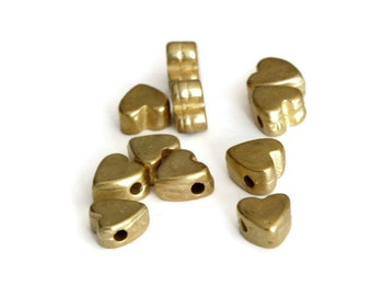 8mm Gold Heart Beads, Gold Plated Heart Bead Spacer, Heart Shape Metal Beads, Heart Pendant  Charm P 30 039