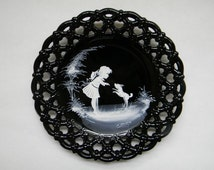 Westmoreland, Mary Gregory Style Black Plate with Little Girl Playing with Her  Dog