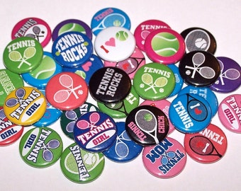 "I Love Tennis Girl Set of 10 Buttons 1"" or 1.5"" Pin Back Buttons or 1"" Magnets Tennis Player Tennis Buttons Tennis Pins"
