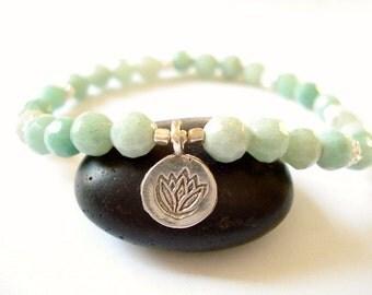 Lotus Flower Bracelet, Hill Tribe Silver,  Amazonite, Silver Charm, Yoga or Meditation Bracelet
