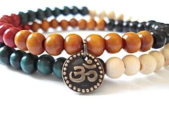 Doube Wrap Om Bracelet, Wooden Mala Beads, Brass Om charm, Mala Bracelet, Meditation Bracelet, Yoga Bracelet, Zen Bracelet, Yoga, Meditation