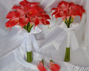 "Bride/MoH Bouquets Groom/Best man Boutonnieres Wedding Bridal Bouquet Real Touch Calla Lily Coral - More Colors Available ""Lily of Angeles"""
