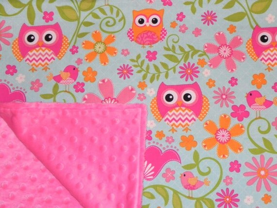 Baby Girl Blanket Pink Chevron Owls And Hot Pink Minky