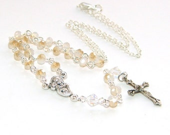 Rosary Necklace, Champagne Crystal with Silver, Madonna & Child Center