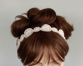 Beach Wedding Headband Bridal Headband, Art Deco Weddings Sash Cream Champagne Ivory Satin Eyelet Handmade