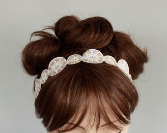 Wedding Headband Bridal Head Piece, Art Deco Hair Sash Cream Champagne Ivory Satin Eyelet