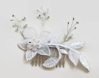 Applique Lace Bridal Hair Fascinator Comb with Silver Sprays Headpiece. Handmade. Unique Design