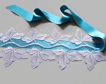 Bridal Sash Ribbon Belt, Weddings Dress Sash,  Turquoise Blue Satin, Lace Trim. Handmade.